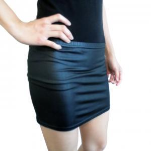 Faux Leather Pleather Mini Skirt Bl..